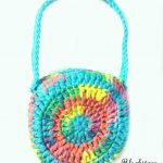 Crochet Purse for Little Girls Round Purse, Open Top, Long Strap, Colorful