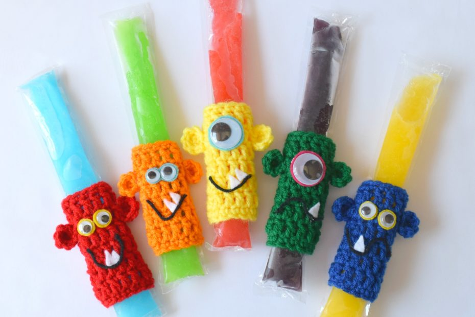 Crochet popsicle holders with Monster faces