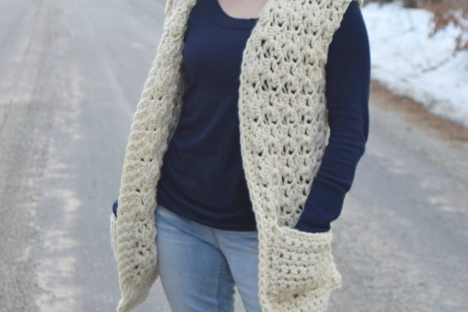 crochet vest made with super bulky yarn