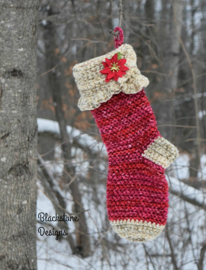 Red and Beige Crochet Christmas Stocking