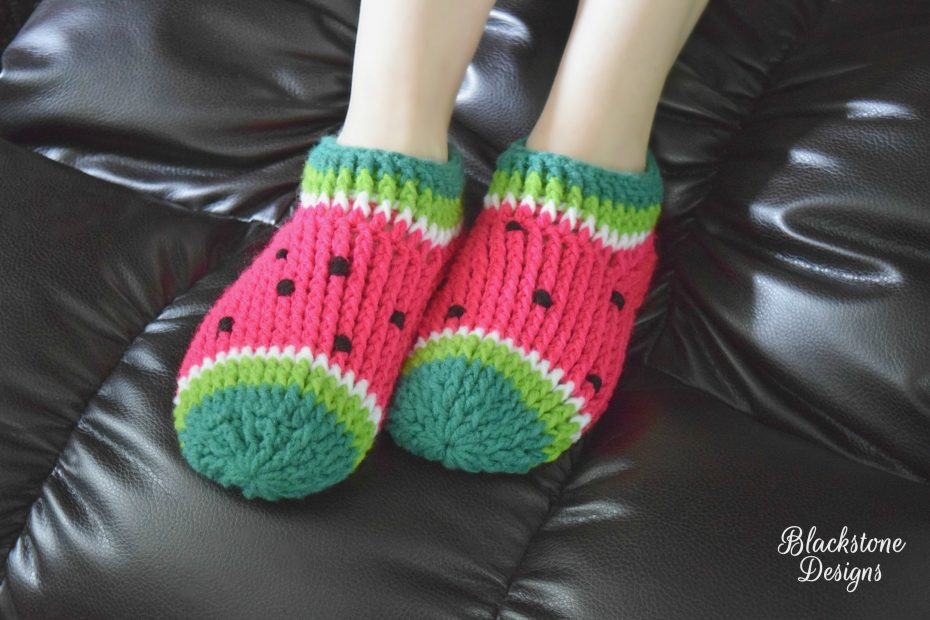 Crochet slippers that look like Watermelon
