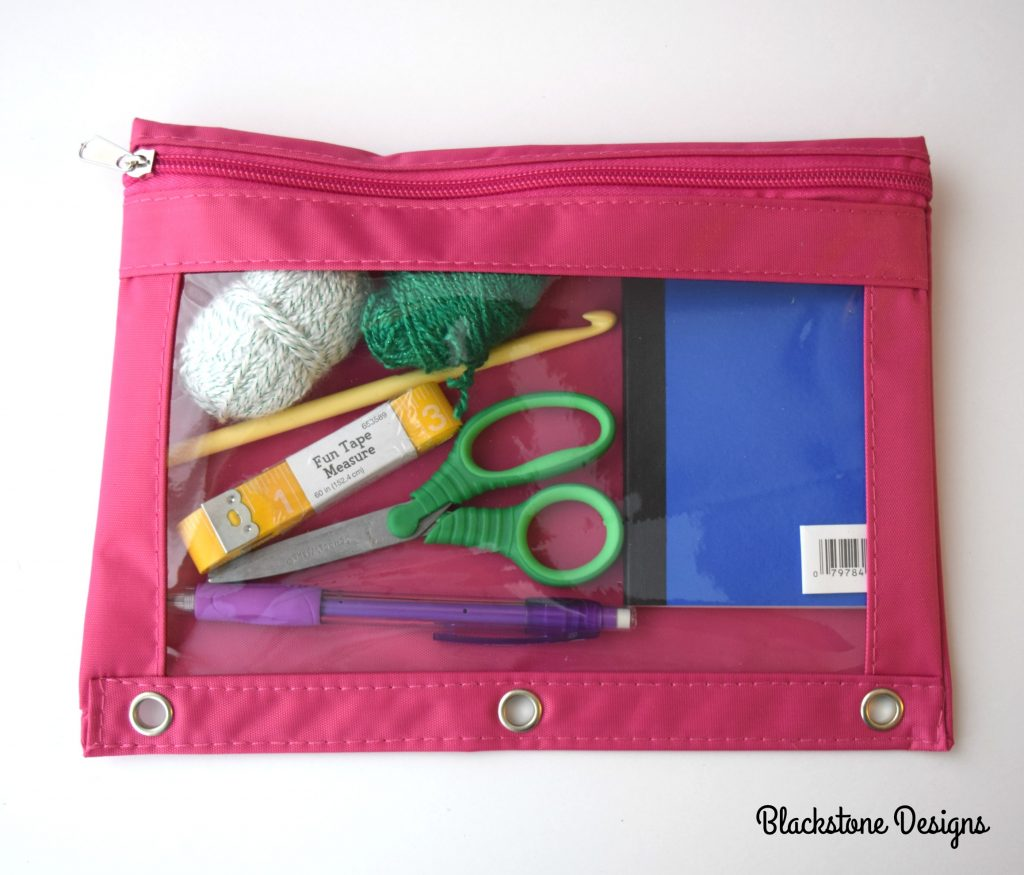 Pink Binder Pouch filled with Crochet items