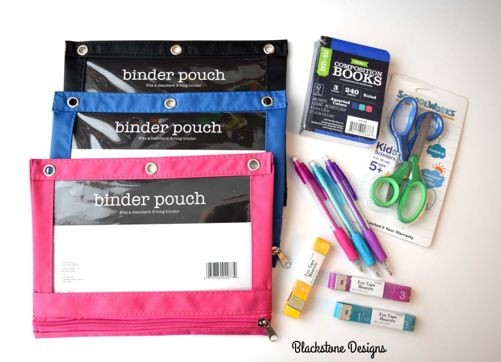 Black, Blue, and Pink Binder Pouches with notepads, pencils, measuring tapes, and scissors.
