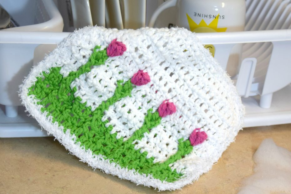 Washcloth with Tulips