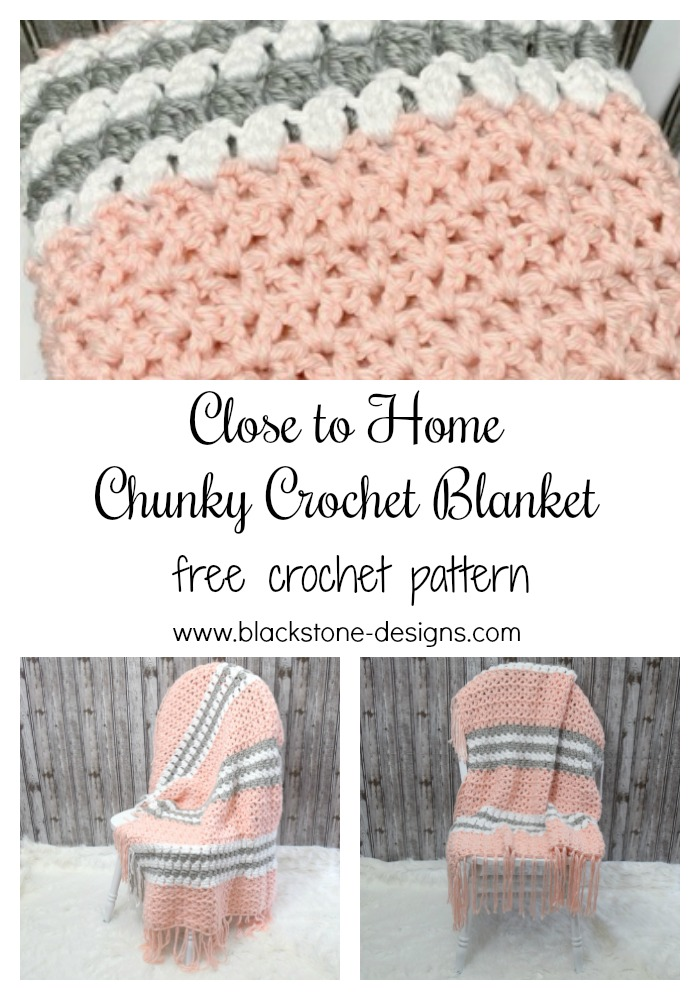 Chunky Crochet Blanket made with Lion Brand Hometown Yarn pin for Pinterest