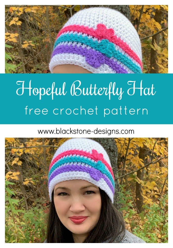 Hopeful Butterfly Hat graphic for pinterest