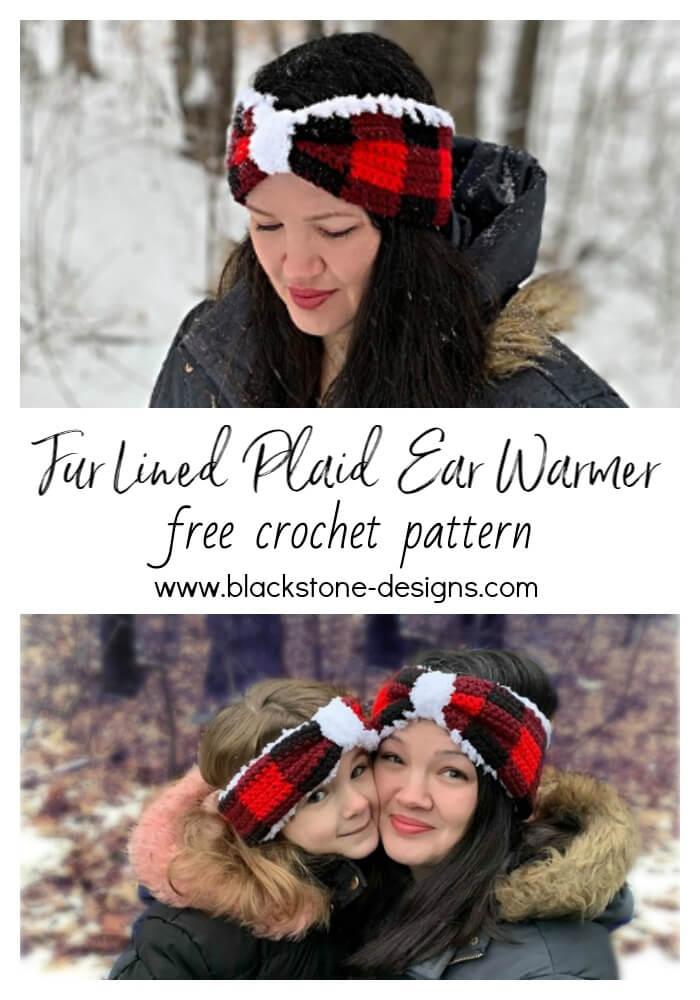 Black and White Buffalo Plaid Ear Warmer black and white buffalo plaid plaid winter accessories ear warmer plaid ear warmer